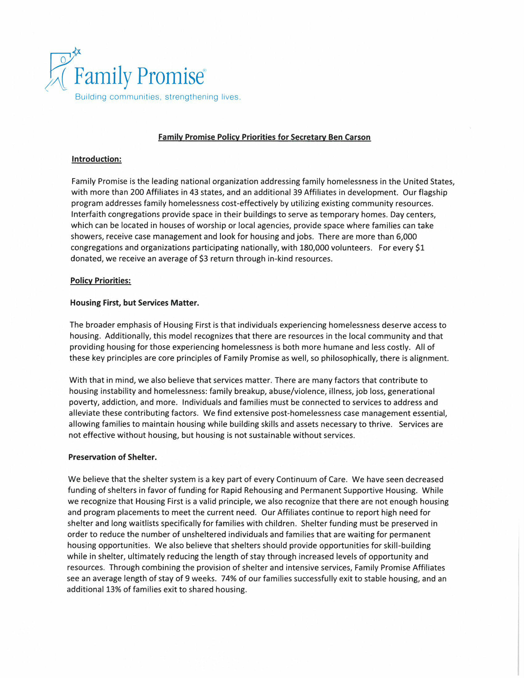 Family Promise Talking Points for HUD-1