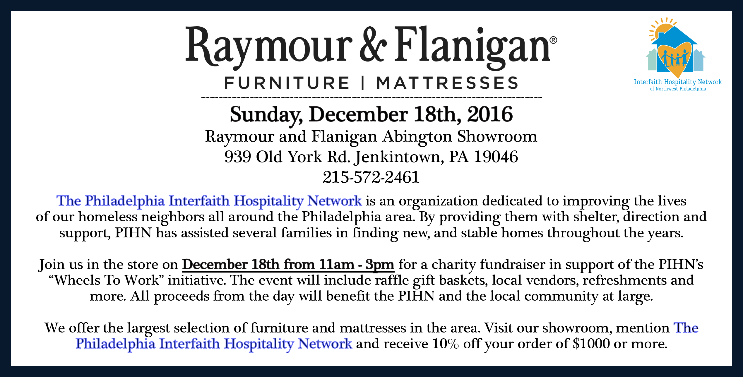 Raymour & Flanigan Fundraiser, December 18th